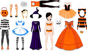 halloween paper doll with different costumes royalty free cliparts