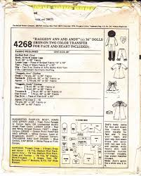 amazon com mccall u0027s 4268 vintage sewing pattern raggedy ann