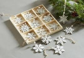 pack of 6 decorative snow white wooden snowflake ornaments