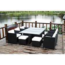 Wicker Patio Dining Sets Amazon Com Dark Brown Modern All Weather Wicker Aluminum Sofa