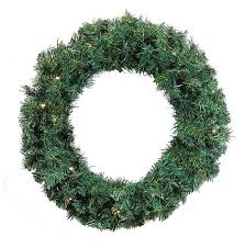 24 pre lit green cedar pine artificial wreath warm white led lights