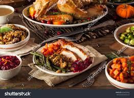 thanksgivings dinner full homemade thanksgiving dinner turkey stuffing stock photo