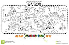 big road coloring book stock vector image 54008420