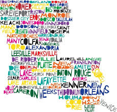 louisiana map city names here s a cool map of louisiana where the city names fill up the