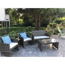 Grey Wicker Patio Furniture by Costway 4 Pc Rattan Patio Furniture Set Garden Lawn Sofa Cushioned