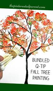 easy bundled q tip stamped tree paintings for every season winter