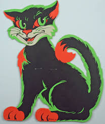 vintage halloween decorations reproductions vintage halloween beistle fluorescent stand up cat diecut