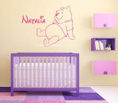 wall decals stickers home decor home furniture diy winnie the pooh bear kids personalised any name wall art mural decal sticker
