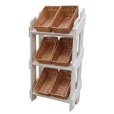 wooden retail display stand with 6 wicker baskets postcard