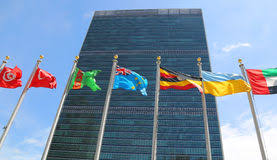 unicef siege international flags in the front of united nations headquarter in