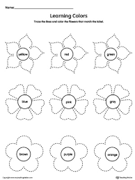 learning colors and tracing flowers worksheet learning colors