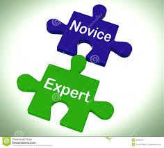 novice expert puzzle shows unskilled and professional royalty free