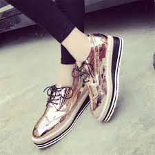 Platform Heels Comfort Womens Gold Color Platform Shoes Lace Up High Quality Comfort