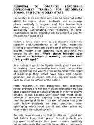 proposal to organise leadership development training for secondary