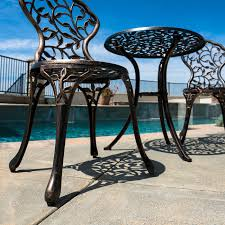 Aluminum Cast Patio Dining Sets - 3pc bistro set in antique outdoor patio furniture leaf design cast