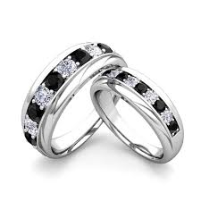 black diamond wedding set matching wedding band in platinum brilliant black and white
