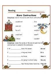english teaching worksheets contraction