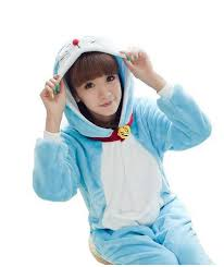 Warm Womens Halloween Costumes Warm Kigurumi Doraemon Onesie Pajamas Sleepsuit Cartoon Anime