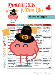 free brainy days calendar thanksgiving edition is here talking