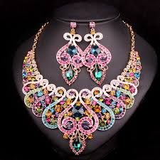 indian wedding decoration accessories fashion bridal jewelry sets wedding engagement necklace earring
