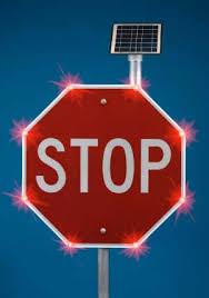 stop sign with led lights flashing stop sign
