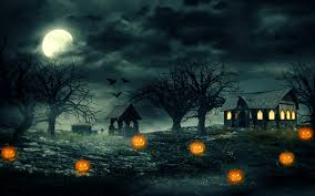 halloween night pumpkins haunted house scary widescreen