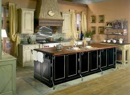 big tubular stove between casual country kitchen cabinets near