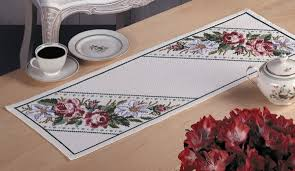 Coffee Table Runners Table Runner With Roses And Lilies Cross Stitch Kit By Permin Of