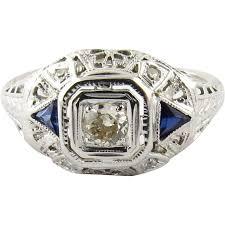 14k white gold art deco diamond and sapphire filigree dome ring