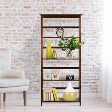 casual home mission style walnut solid wood 5 shelf bookcase 310