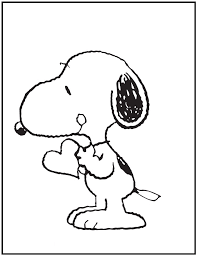 snoopy bring heart coloring pages kids fxk printable