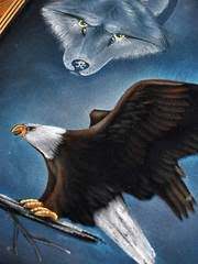 eagle and wolf painting on velvet 19x23 j c wear
