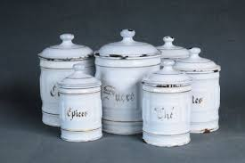 enamel kitchen canisters kitchen canisters set of 6 antique white enamel kitchen