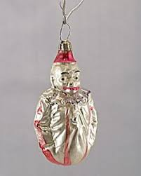 antique west germany blown mercury glass clown christmas ornament
