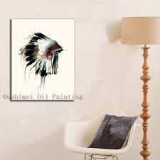 Feather Home Decor Hand Painted Modern Indians Tire Wall Painting Picture On Canvas