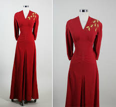vintage 40s decadent art deco lame leaves cocktail party gown