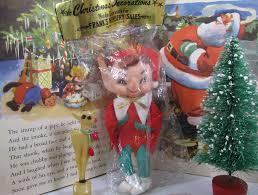 vintage elf decoration molded head pixie mint christmas ornament