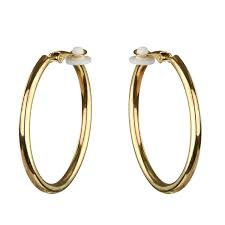 clip on earrings s clip on goldtone hoop earrings 35mm