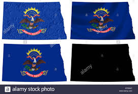 State Flag Of North Dakota Us North Dakota State Flag Over Map Stock Photo Royalty Free