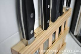kitchen knife storage ideas diy wall mounted wood knife rack to save space in a small kitchen