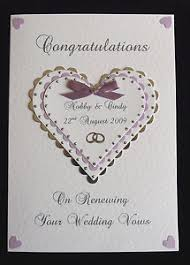 vow renewal cards congratulations renewing wedding vows card any colour trim available handmade