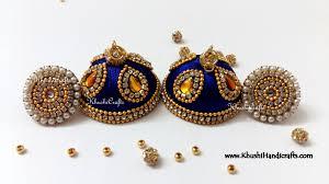 jhumkas earrings royal blue designer large silk jhumkas with stud khushi