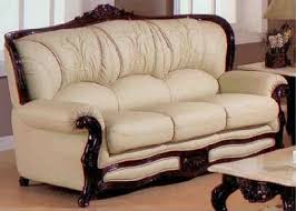 cream leather and wood sofa exquisite victorian style leather sofas