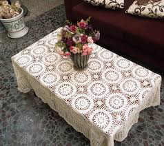 Coffee Table Cover Decorations Handmade Crochet Flowers Woven Cotton Lace