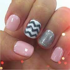 baby pink with white and grey chevron and silver ring finger