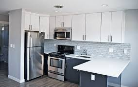 black and white kitchen design using white acrylic kitchen