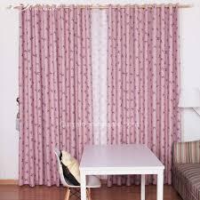 Purple Room Darkening Curtains Polyester Fabric Room Darkening Curtain Print With Purple Bow Knot