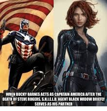 Black Widow Meme - when bucky barnes acts as capatain america after thie death of