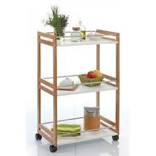 meuble etagere cuisine desserte de cuisine bambou à roulettes 3 étagères blanches