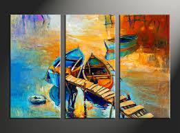 3 piece boat ocean oil paintings yellow artwork